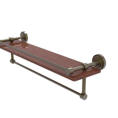Dottingham Collection 22 in. IPE Ironwood Shelf with Gallery Rail and Towel Bar in Antique Brass