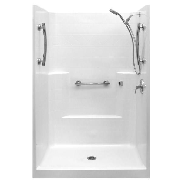 Ultimate-SA 37 in. x 48 in. x 80 in. 1-Piece Low Threshold Shower Stall Package in White, RHS Shower Kit, Center Drain