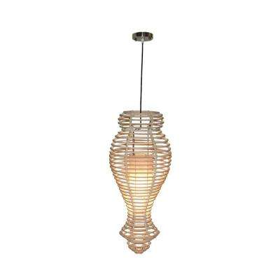 Orinda 1-Light Antique White Wash Rattan Modern Chic Pendant
