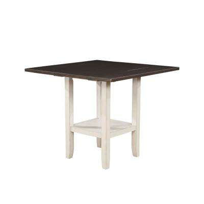 Hayden Antique White With Espresso Counter Height Dining Table