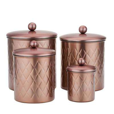 4-Piece 4 Qt, 3 Qt. and 2 Qt. Rose Gold Embossed Diamond Canister Set