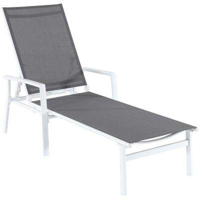 Naples White Frame Adjustable Sling Outdoor Chaise Lounge in Gray Sling