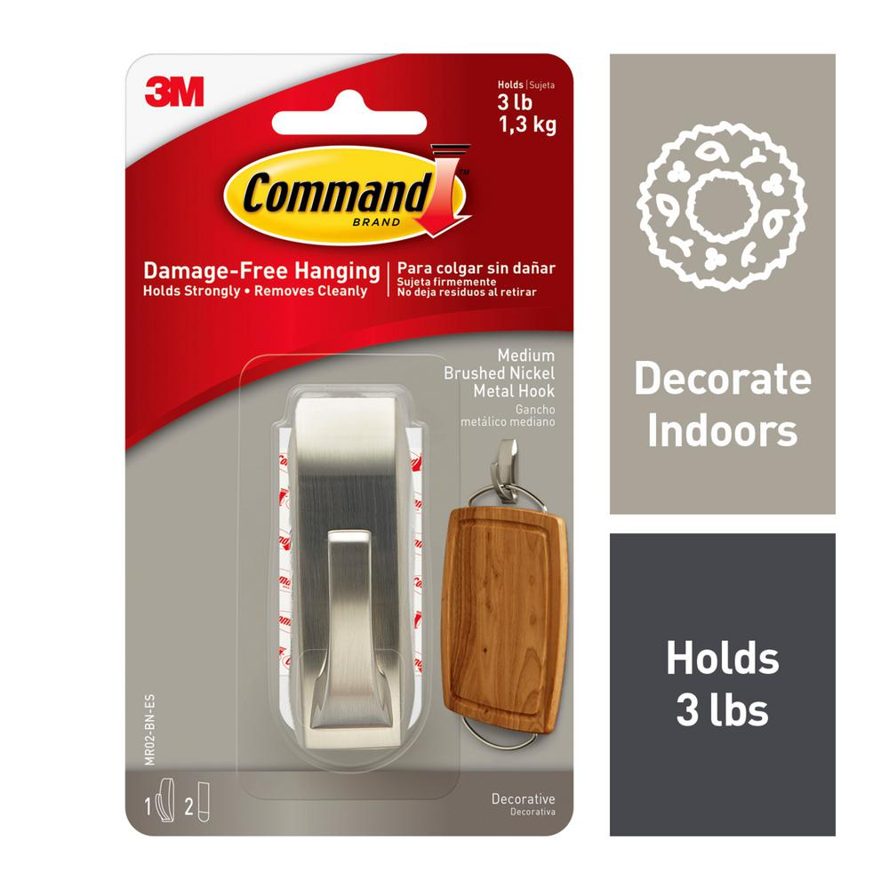 Command 3 lb. Brushed Nickel Medium Modern Reflection Metal Hook