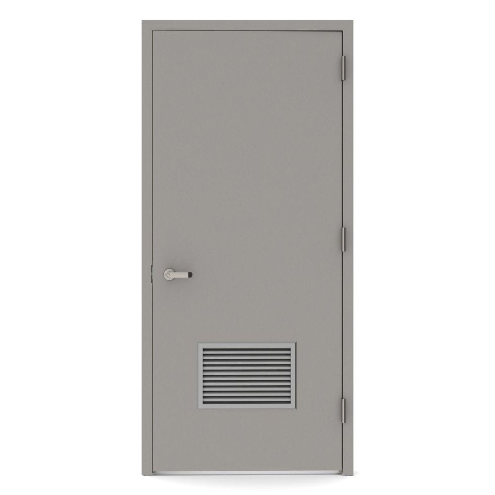 36 in. x 84 in. Firerated Left-Hand Louver Steel Prehung Commercial