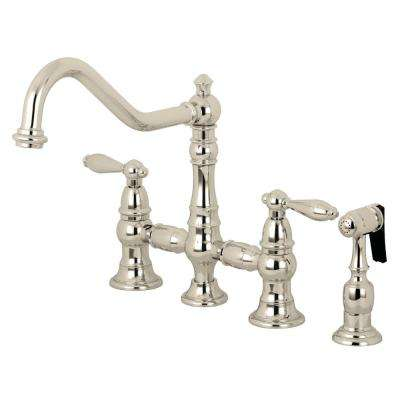 Restoration 2-Handle Bridge Kitchen Faucet with Side Sprayer in Polished Nickel