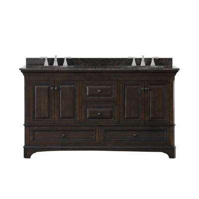 Moorpark 61 in. W Bath Vanity in Burnished Walnut with Granite Vanity Top in Brown with White Basins