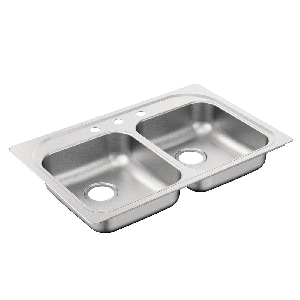 moen stainless steel kitchen sinks moen 2000 series drop in stainless steel 33 in 3 9286