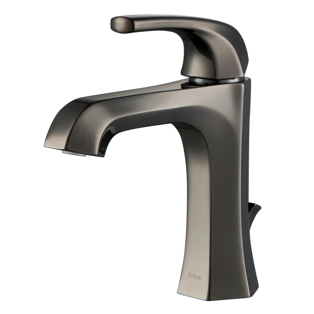 KRAUS Esta Single Hole Single-Handle Basin Bathroom Faucet in Gray with Lift Rod Drain, Grey was $169.95 now $129.95 (24.0% off)