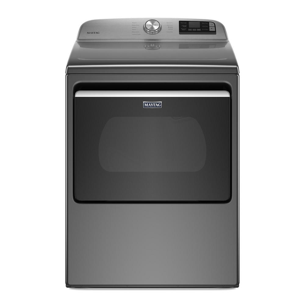 Maytag 7.4 cu. ft. 240-Volt Metallic Slate Smart Capable Electric Dryer with Hamper Door and Advanced Moisture Sensing