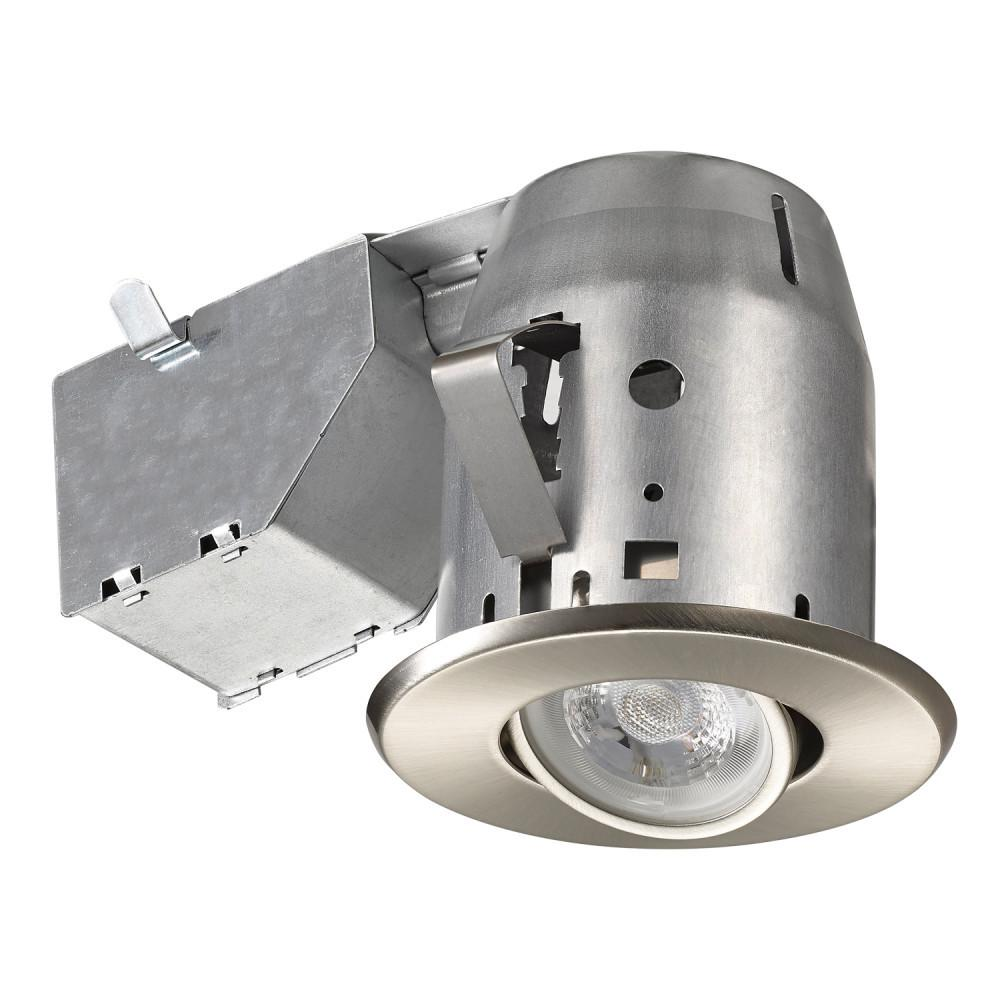 Commercial Electric 3 in. Brushed Nickel New Construction and Remodel LED Swivel Round Trim Recessed Lighting Kit with LED Bulb