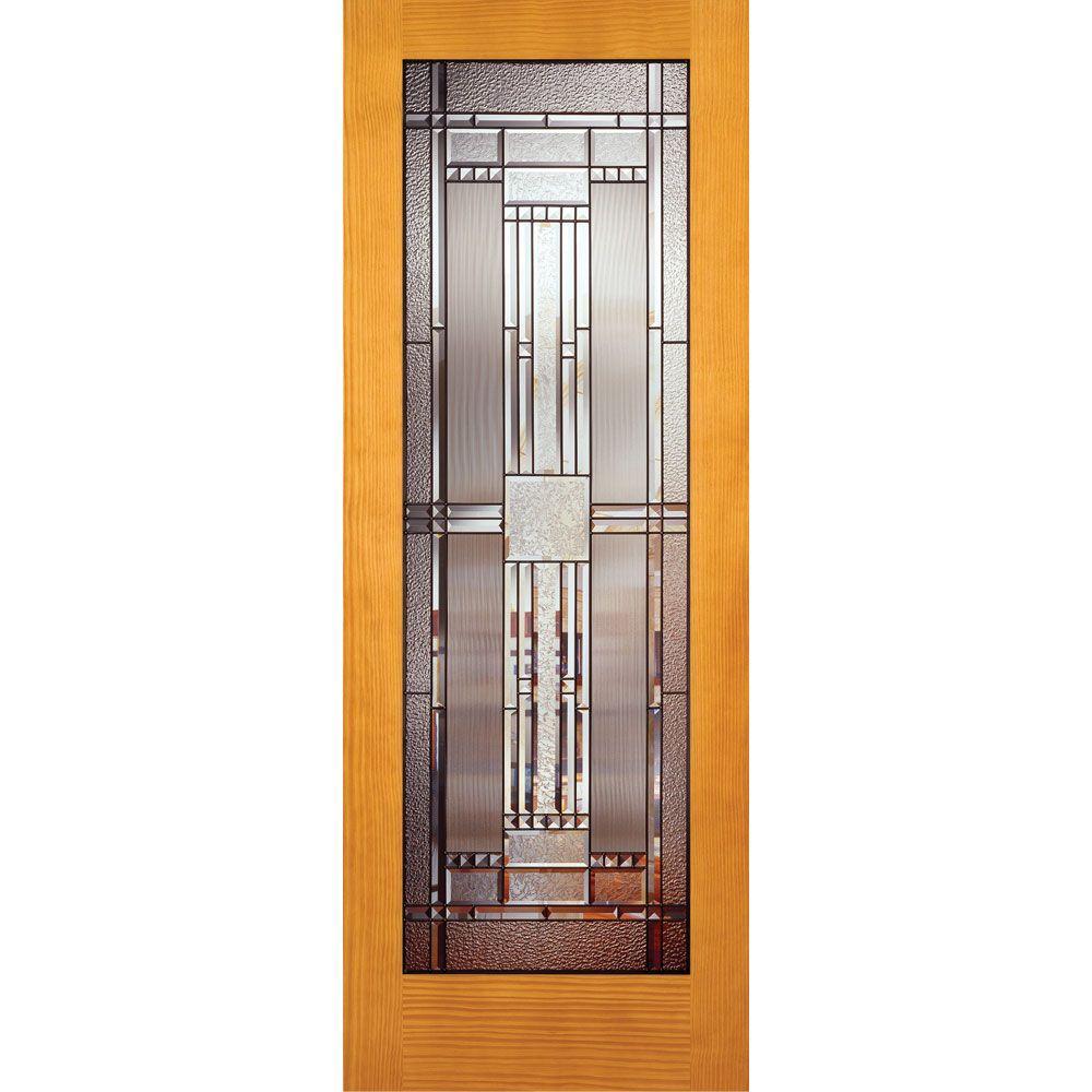 Feather River Doors 28 in. x 80 in. Preston Patina Woodgrain 1 Lite Unfinished Pine Interior Door Slab
