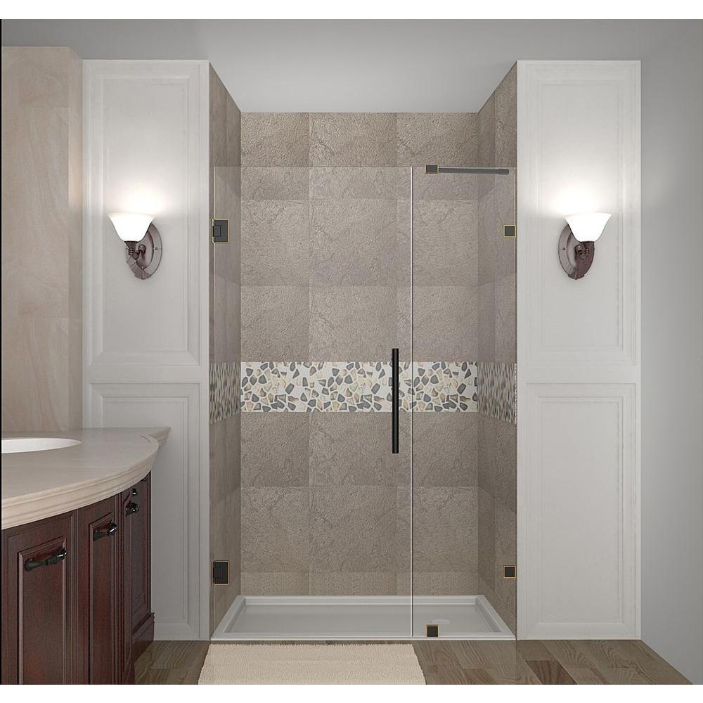 Nautis 46 in. x 72 in. Completely Frameless Hinged Shower Door