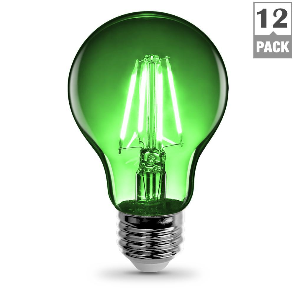 25W Equivalent Green Colored A19 Dimmable Filament LED Clear Glass Light Bulb