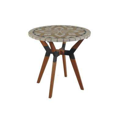 Round 30 in. Spanish Marble Eucalyptus and Metal Outdoor Bistro Table