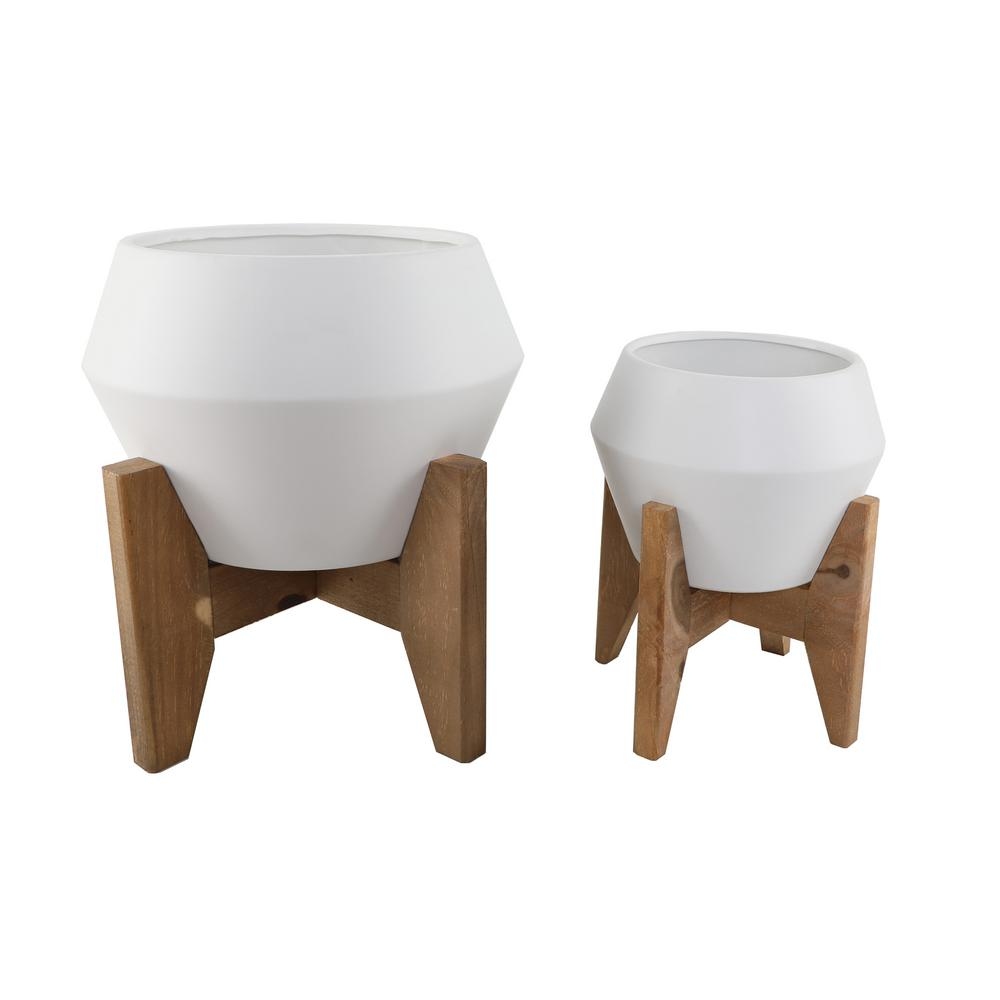 Flora Bunda 10 in. and 8 in. Matte White Geometric Openning Ceramic Plant Pot on Wood Stand Mid Century Planter (Set of 2)