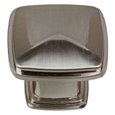 1-1/4 in. Satin Nickel Square Deco Cabinet Knobs (10-Pack)