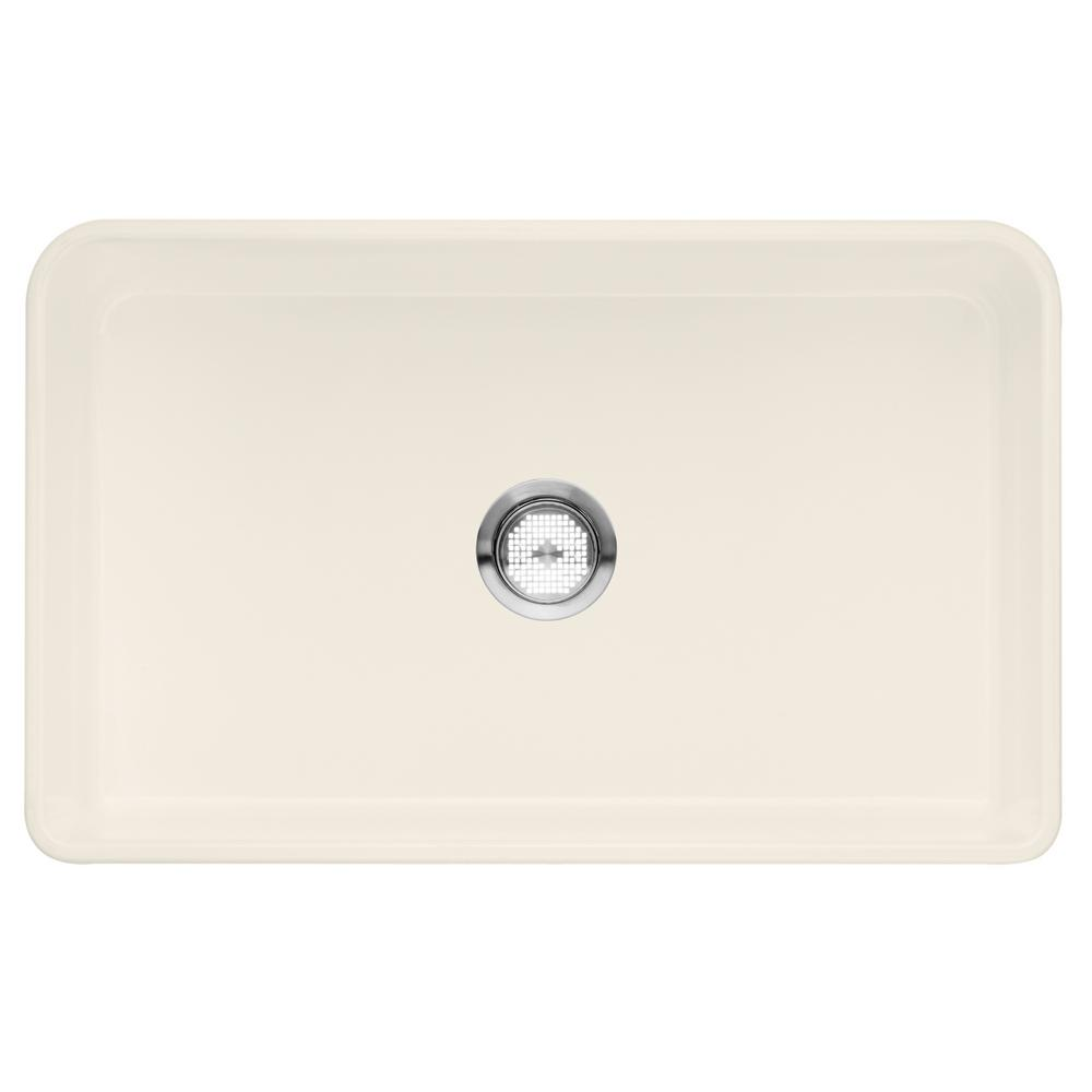 Blanco Cerana Apron Front Fireclay 30 In. Single Bowl Kitchen Sink In  Biscuit