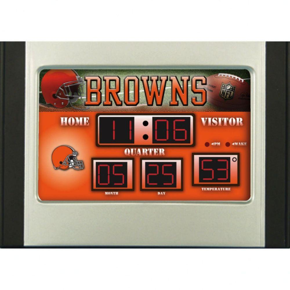null Cleveland Browns 6.5 in. x 9 in. Scoreboard Alarm Clock with Temperature