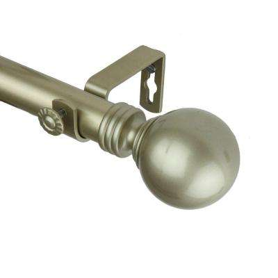 120 in. - 170 in. 1 in. Globe Single Curtain Rod Set in Light Gold