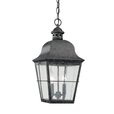 Chatham 2-Light Oxidized Bronze Outdoor Hanging Pendant with Dimmable Candelabra LED Bulb