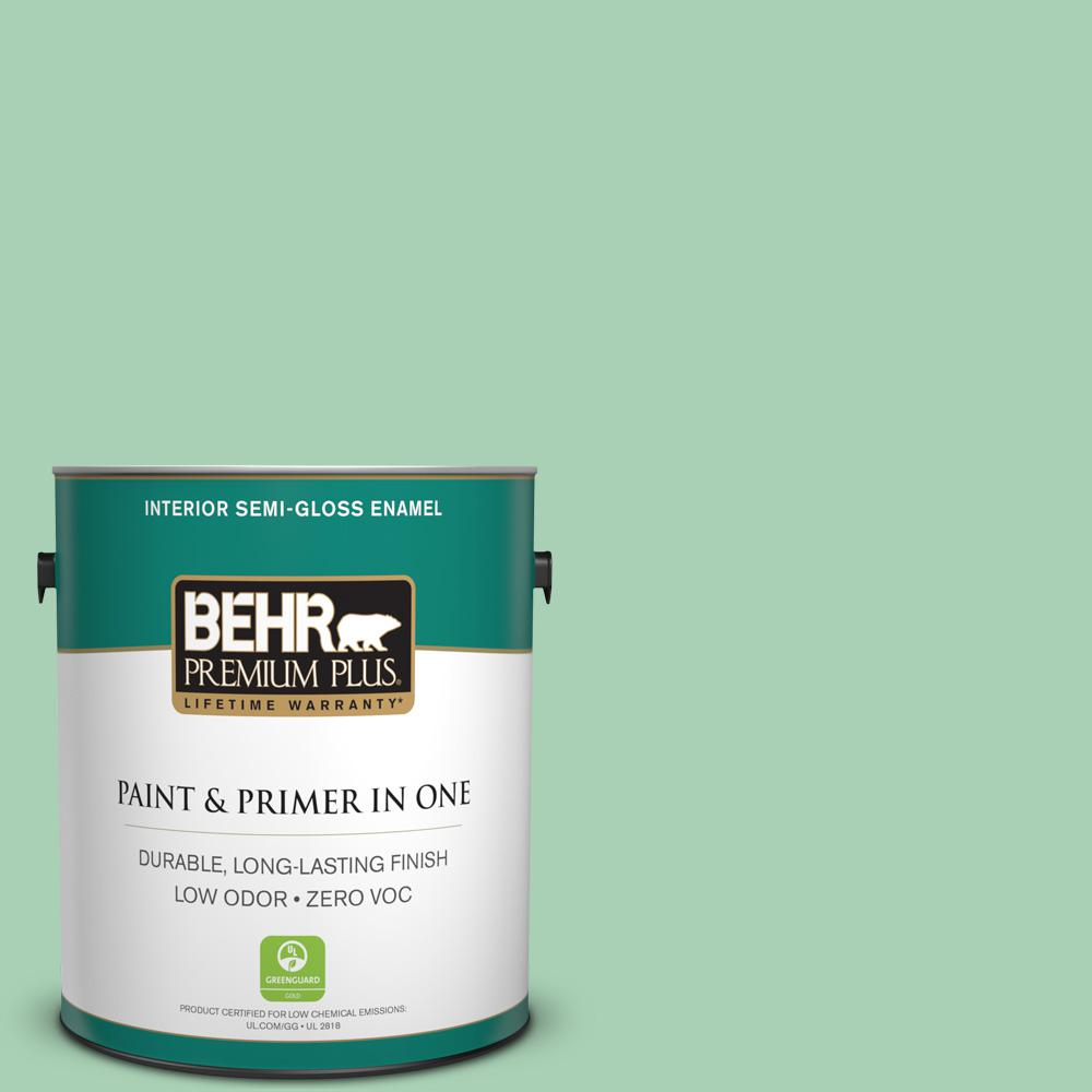 1-gal. #460D-4 Aloe Essence Zero VOC Semi-Gloss Enamel Interior Paint