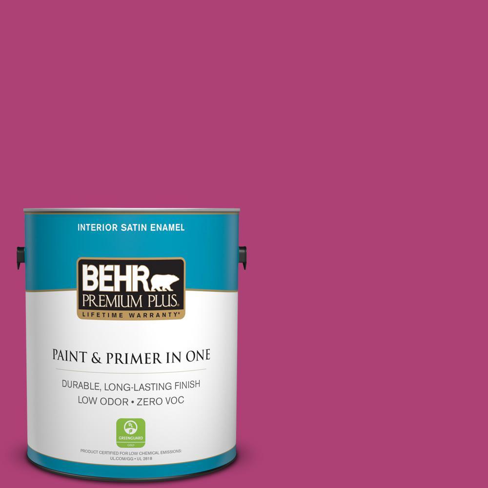 BEHR Premium Plus 1 gal. #100B-7 Hot Pink Satin Enamel Low Odor ...