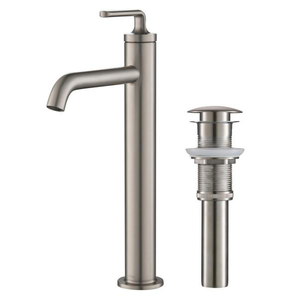 Ramus Single Hole Single-Handle Vessel Bathroom Faucet with Matching Pop-Up Drain in Spot Free Stainless Steel