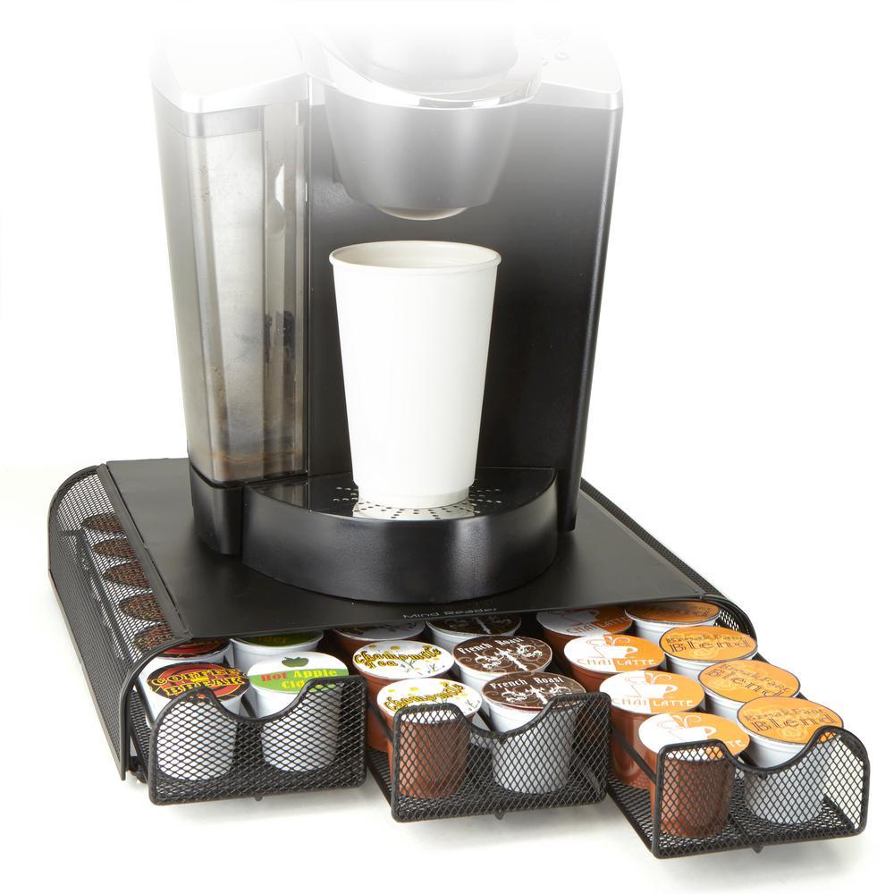 Coffee Pod Triple Drawer 36 Capacity Black Metal Mesh