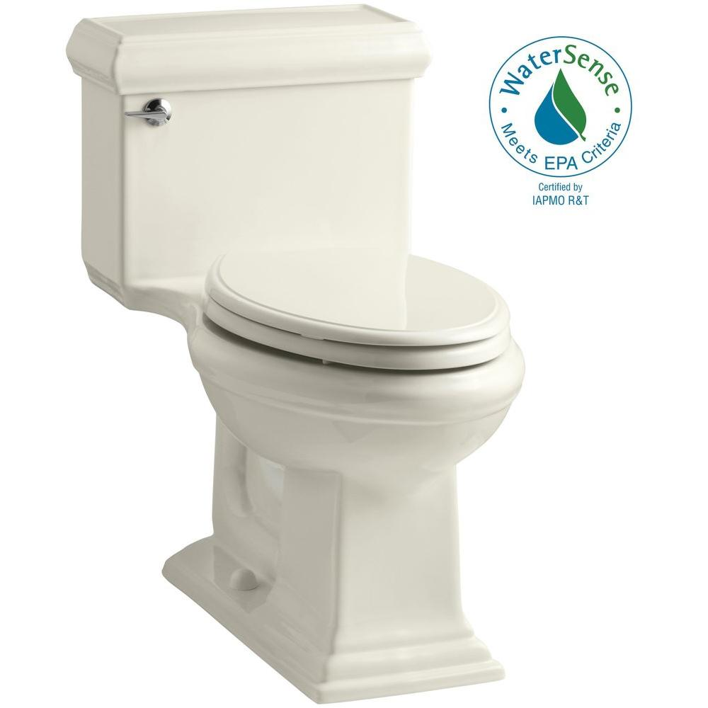 KOHLER Memoris Classic 1-Piece 1.28 GPF Single Flush Elongated Toilet with AquaPiston Flush Technology in Biscuit