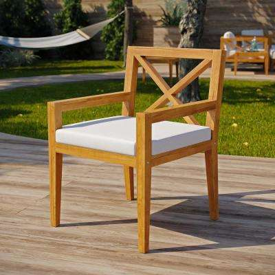 Northlake Natural Grade A Teak Wood Outdoor Dining Chair with White Cushions