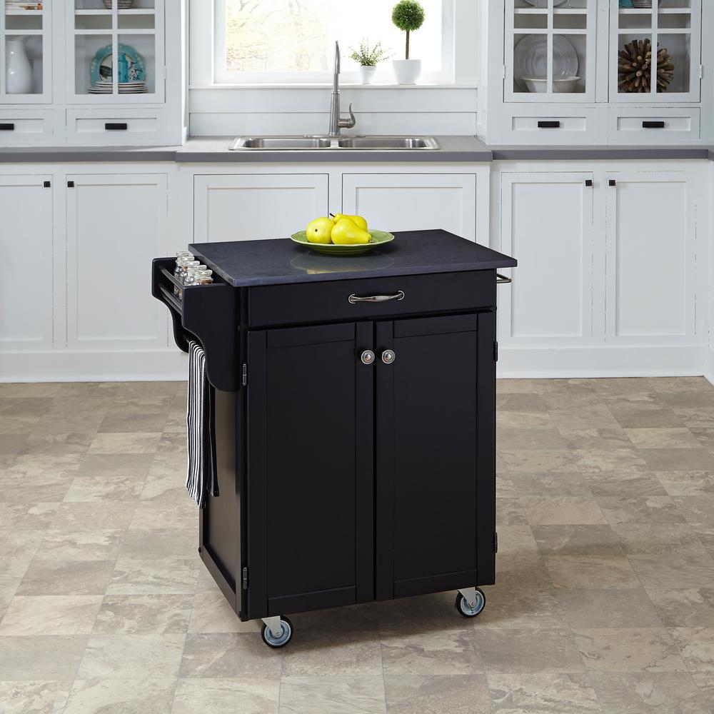 Home Styles Cuisine Cart Black Kitchen Cart With Quartz T...