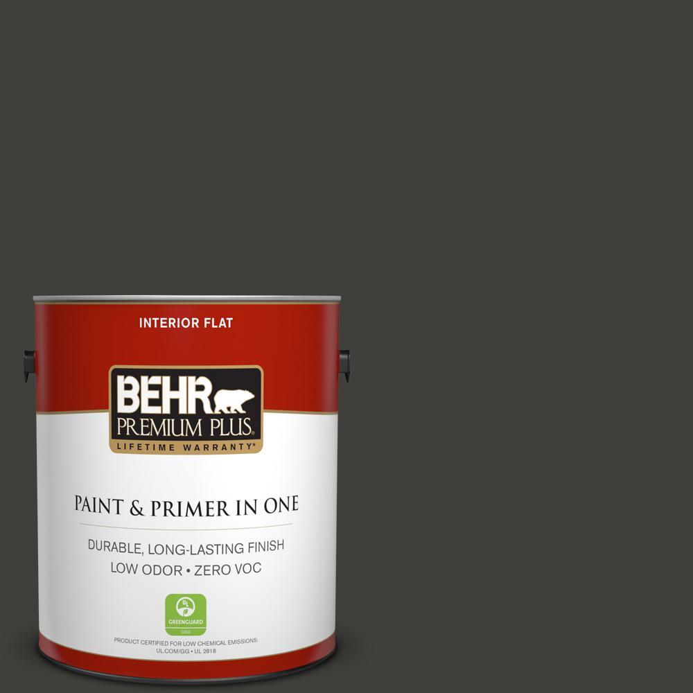 BEHR Premium Plus 1-gal. #S-H-790 Black Suede Zero VOC Flat Interior Paint