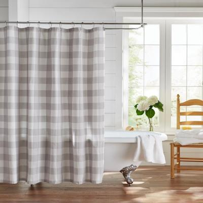 Farmhouse Living Buffalo Check 72 in. W x 72 in. L Gray/White Shower Curtain