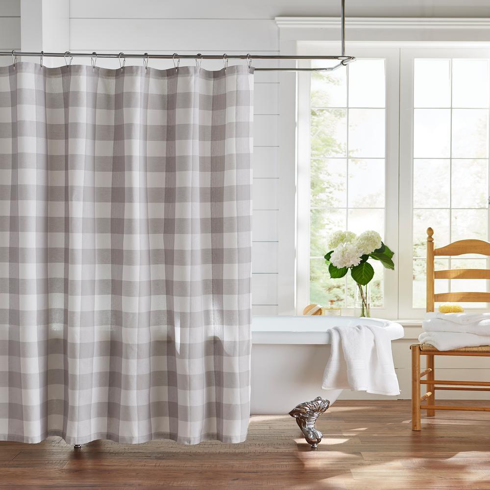 Farmhouse Living Buffalo Check 72 in. W x 72 in. L Gray/White Shower Curtain
