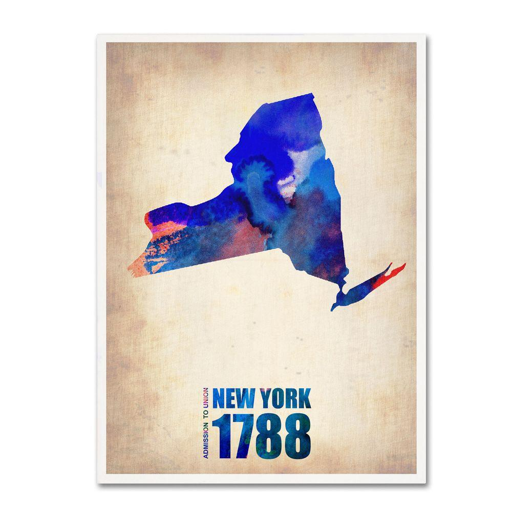Trademark Fine Art 24 in. x 18 in. New York Watercolor Map Canvas Art