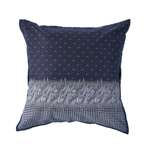 Clair Navy Blue and White Plaid Cozy Poly-fill 20 in. x 20 in. Decorative Throw Pillow