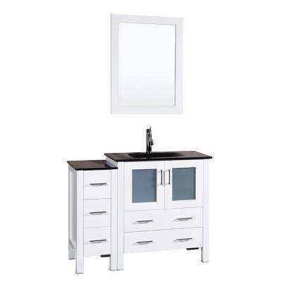 42 in. W Single Bath Vanity in White with Tempered Glass Vanity Top with Black Basin and Mirror