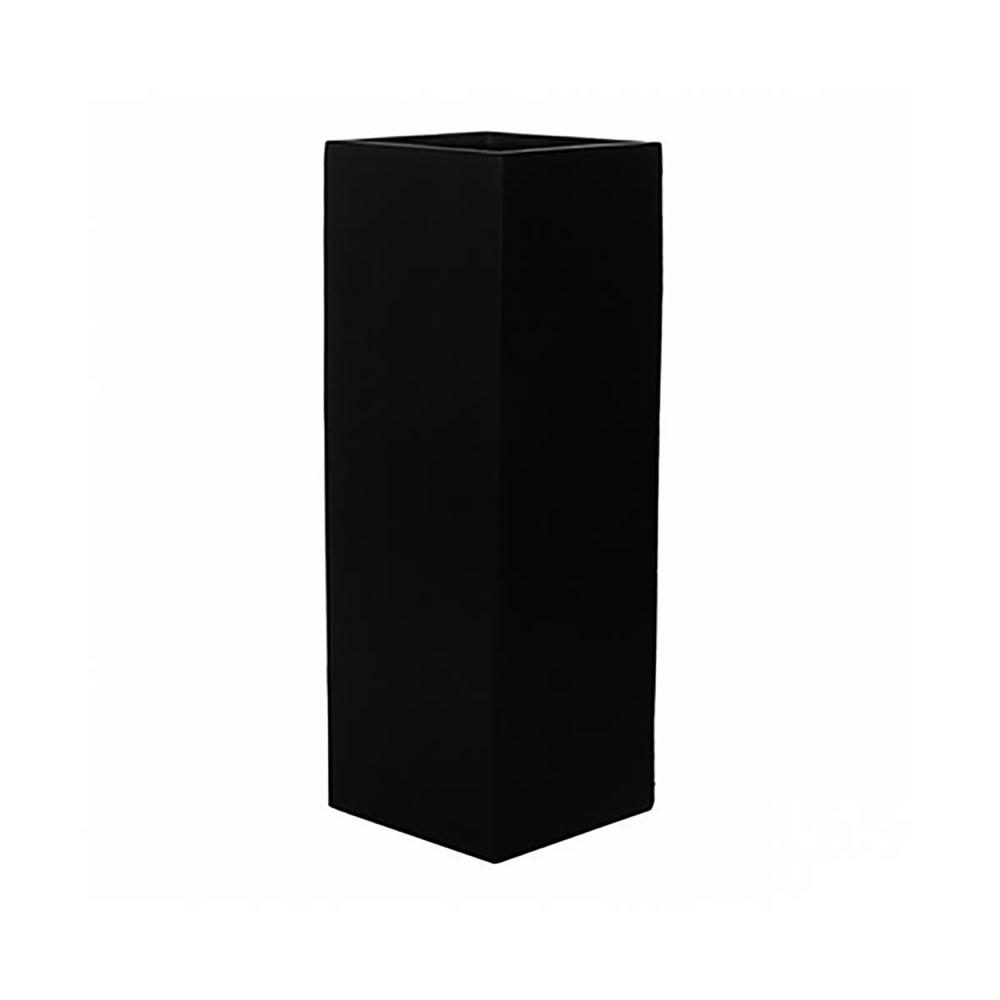 14 in. x 47 in. Matte Black Fiberstone Large Square Stand/Planter/Pot