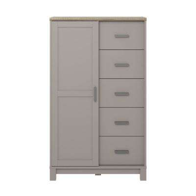 Viola 5-Drawer Gray/Light Brown Gentleman's Chest