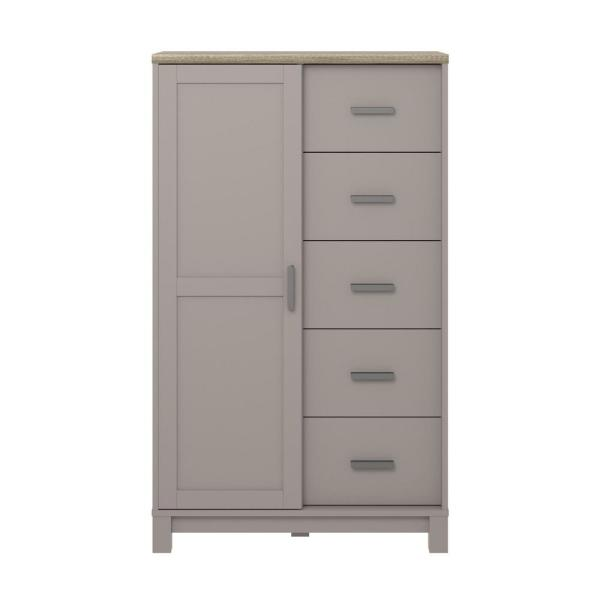 Ameriwood Viola 5-Drawer Gray/Light Brown Gentleman's Chest HD41111