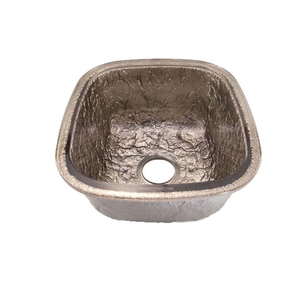 Undermount Glass 17 in. 0-Hole Kitchen Sink in Platinum