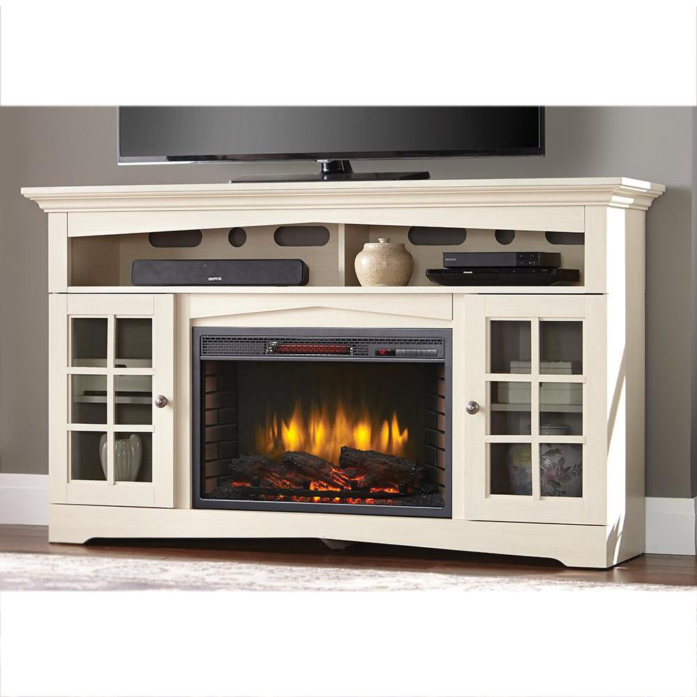 Home Decorators Collection Avondale Grove 59 in. TV Stand Infrared Electric  Fireplace in Aged White