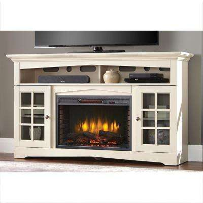Avondale Grove 59 in. TV Stand Infrared Electric Fireplace in Aged White
