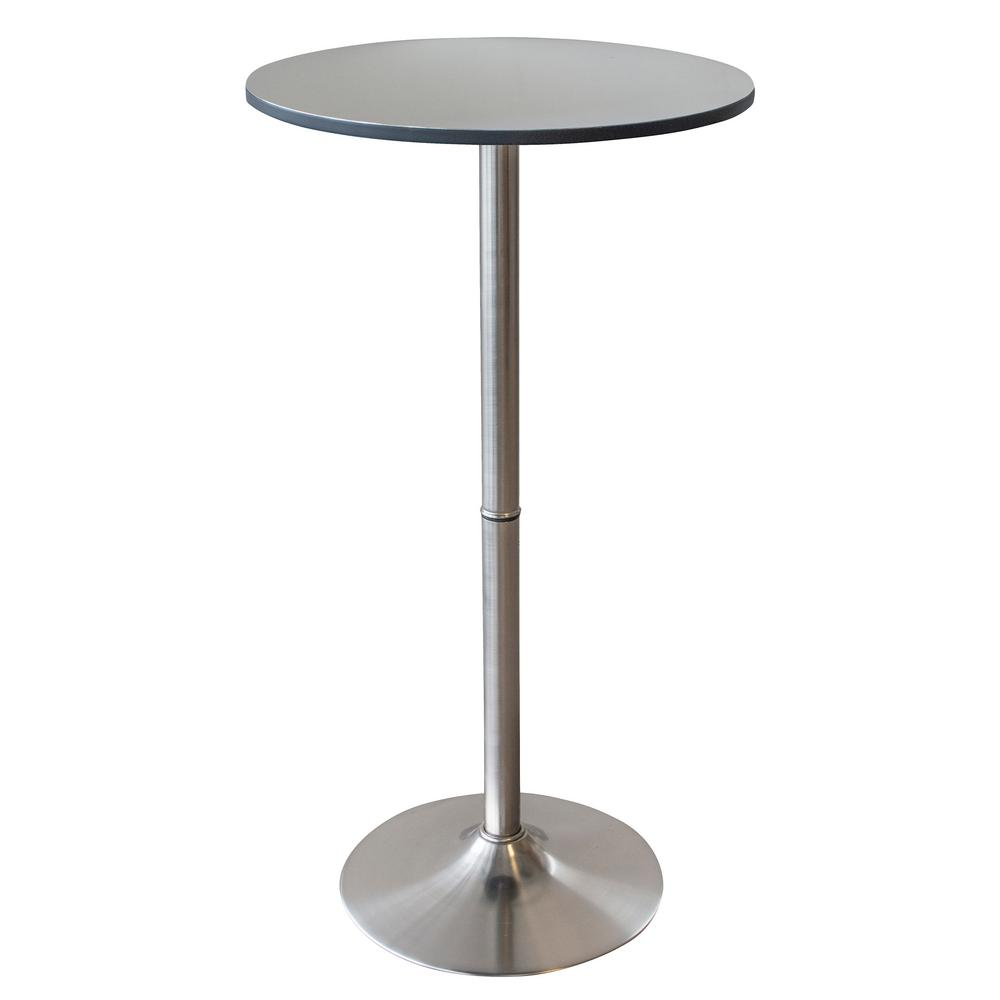 24 in. Round Stainless Steel Bar Table with Brushed Nickel Base