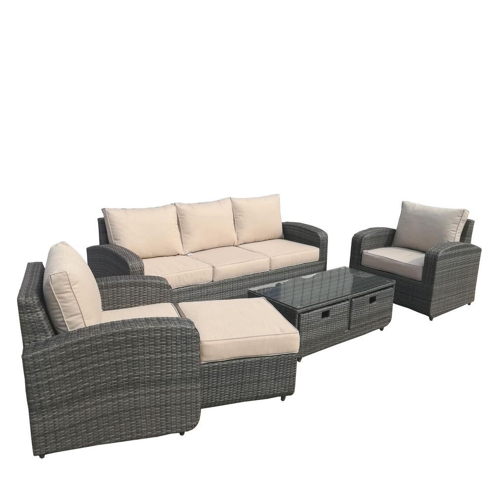 Strathmere Grey 5-Piece Wicker Patio Conversation Set with Beige Cushions