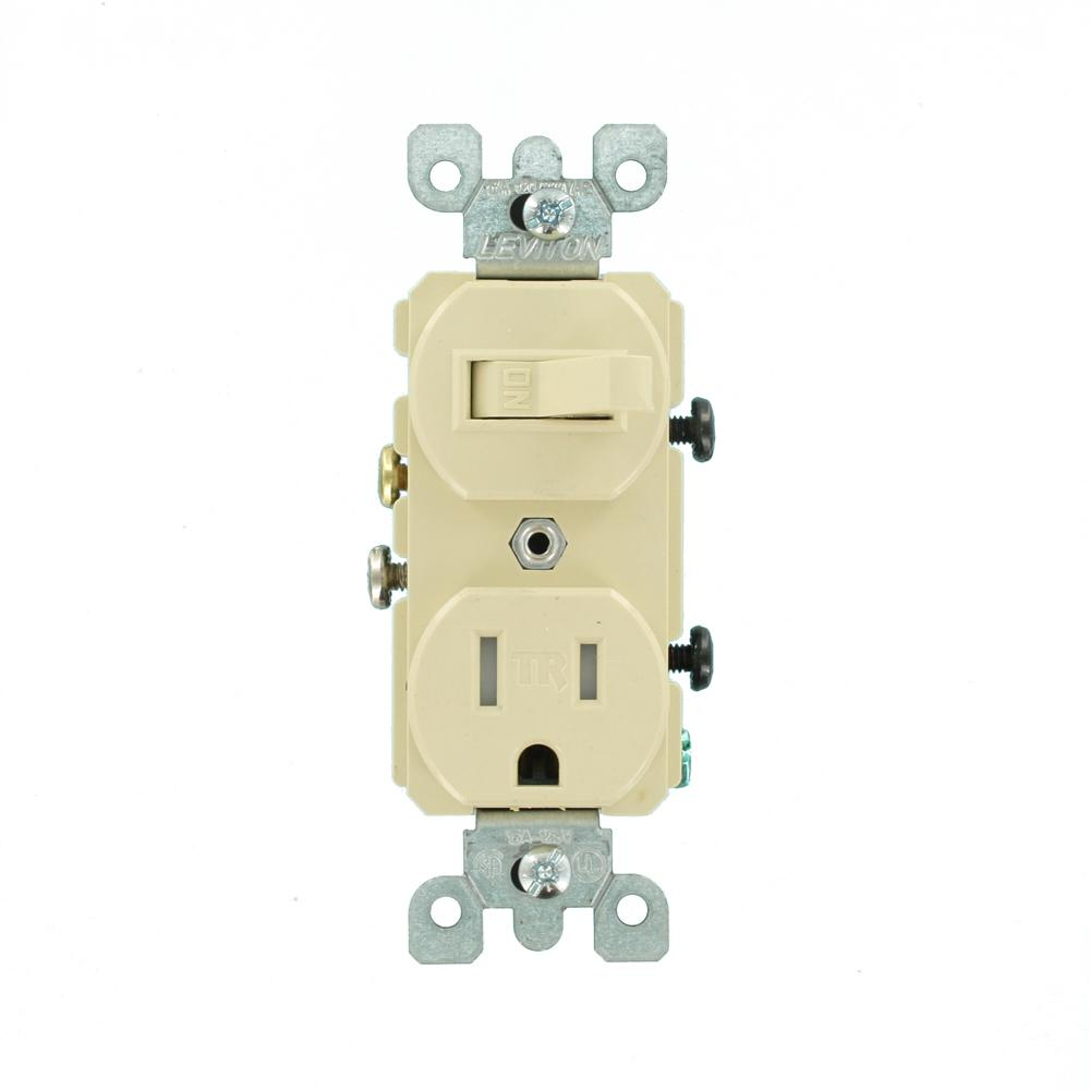 [DVZP_7254]   Leviton 15 Amp Tamper-Resistant Combination Switch and Outlet, Ivory-R51- T5225-0IS - The Home Depot | Leviton T5225 Wiring Diagram |  | The Home Depot
