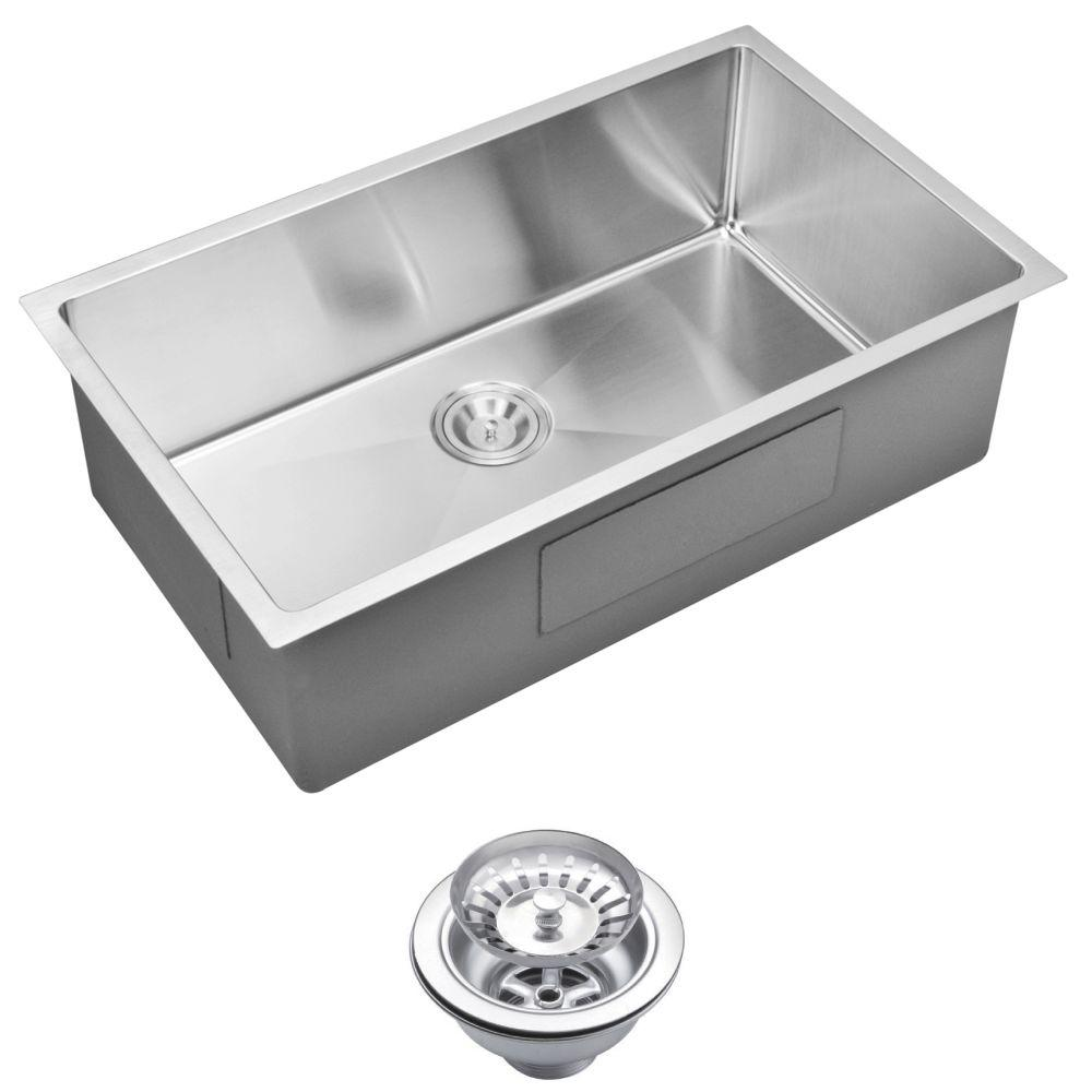 water creation undermount small radius stainless steel 0 hole single bowl kitchen sink. Black Bedroom Furniture Sets. Home Design Ideas