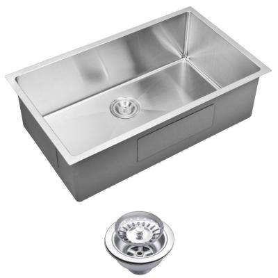 Undermount Small Radius Stainless Steel 32x19x10 0-Hole Single Bowl Kitchen Sink with Strainer in Satin Finish