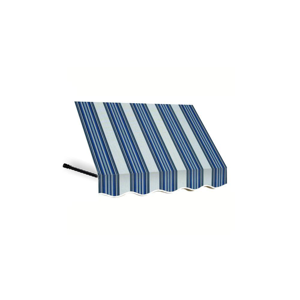 AWNTECH 12 ft. Santa Fe Twisted Rope Arm Window Awning (56 in. H x 36 in. D) in Navy/Gray/White Stripe
