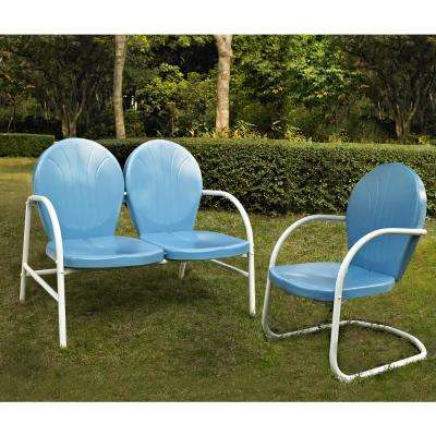Griffith 2-Piece Metal Outdoor Conversation Seating Set - Loveseat and Chair in Sky Blue